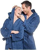 Bademantel für Damen und Herren Größe XS-XXXL in vielen modischen Farben Morgenmantel Saunamantel Baumwolle Frottee mit Kapuze der Serie Föhr