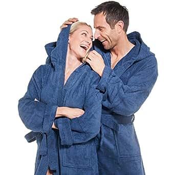 klassischer Bademantel für Damen & Herren | viele Farben alle Größen | Morgenmantel Baumwolle Frottee mit Kapuze | Föhr aqua-textil 1000337 | blau XS