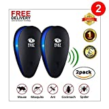 Ultrasonic Pest Repeller x2 pack - Humane pest control. Best spider repellent and deterrent for mice, rats, insects, squirrels, mosquitoes. Pet friendly child safe No more mouse traps or mouse poison