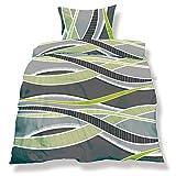 CelinaTex aqua-textil 0500037 Living 2-tlg. Bettwäsche 4-Jahreszeiten 135 x 200 cm Mikrofaser Bettbezug OEKO-TEX 2 teilig Florenz grau grün anthrazit Streifen
