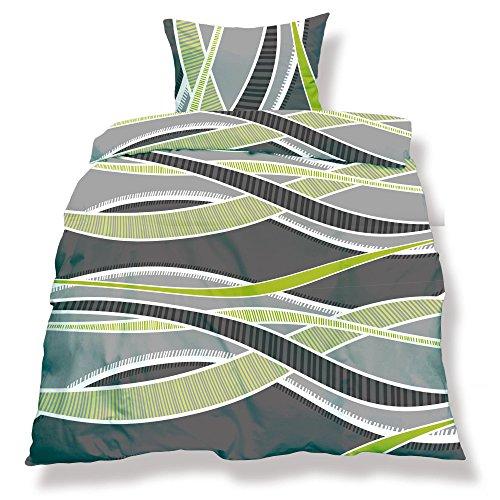 aqua-textil 0500057 Living 3-tlg. Bettwäsche 4-Jahreszeiten 200 x 200 cm Mikrofaser Bettbezug OEKO-TEX 3 teilig Florenz grau grün anthrazit - Grüne Bettdecken