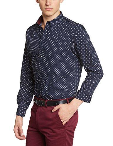 Merc London Siegel, Shirt,Long Sleeve, Polka Dot, Maglietta Uomo blu (Bleu (Navy))