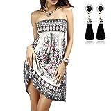 QBQ Frauen Strapless Ethnische Boho Bandeau Beach Sun Kleid Schlank Floral Badeanzug Badeanzug Vertuschen (Stil-03-Weiß)