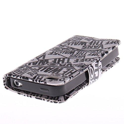 MOONCASE iPhone 4 4S Case Coque en Cuir Étui de protection à rabat pratique et chic Case pour iPhone 4 4S -TX09 ST01