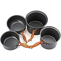 Zhuhaimei,4 Piezas para Acampar al Aire Libre Senderismo Set de Cocina Utensilios de Cocina Antiadherente Pan Pot Bowl Vajilla(Color:Plata)