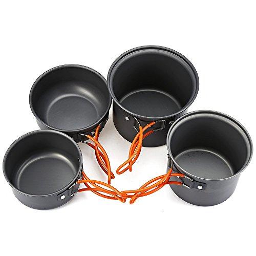 Shuzhen,4 stücke Outdoor Camping Wandern Kochen Set Kochgeschirr Antihaft Pan Pot Bowl Geschirr(Color:Silber)