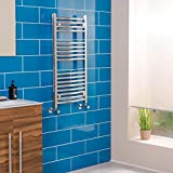 Contemporary Curved Heated Bathroom Towel Rail Radiator Rad 900 x 450 Chrome