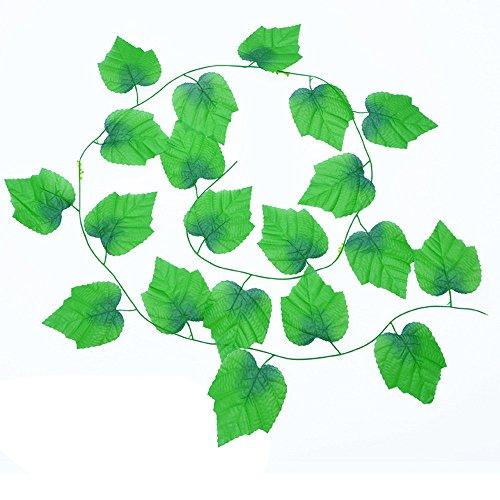 Im Topf Kostüm Pflanze - JackRuler Simulation Blumenrebe Simulation Rattan Weinblätter künstliche Ivy Leaf Garland Pflanzen Vine gefälschte Laub Blumen Home Decor für Hochzeit Garten Wand Dekoration (2.4M)