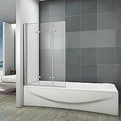 Pare-baignoire 130x140cm en verre anticalcaire paroi de douche 3 volets pivotant à 180°