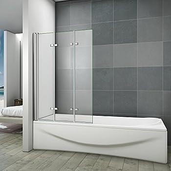 120x140cm Pare baignoire pivotant 180°, porte de baignoire, paroi de baignoire, 6mm verre trempé ...