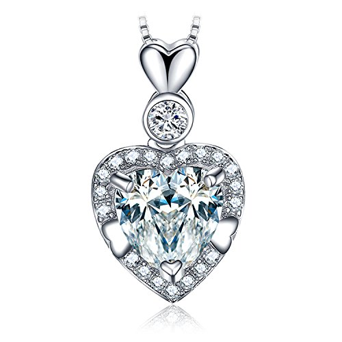 Jewelrypalace Love Heart 2ct Zirkonia Anhänger Halskette 925 Sterling Silber 18 Zoll Box Kette - 2 Count-boxen