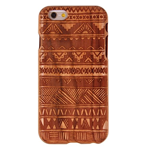 Custodia per iphone 6 Plus/6S Plus, iphone 6 Plus 5.5 Pollici Cover rigida in legno, Ukayfe Impressionante texture di superficie design realizzata a mano legno / Palissandro / legno di rosa naturale d Terra tribale Etnica