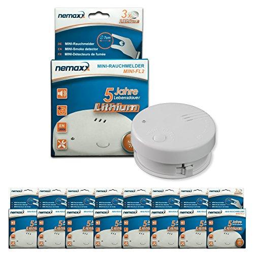 8x Nemaxx Mini-FL2 Rauchmelder - hochwertiger & diskreter Mini Brandmelder Feuermelder...