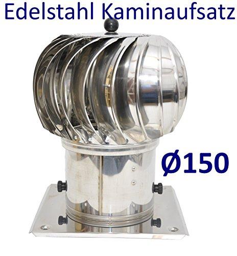 Kaminaufsatz Schornsteinaufsatz Edelstahl drehbarer Kugelaufsatz Lüftungsaufsatz Turbotwist Ø 150mm Ofen Kamin Lüftung