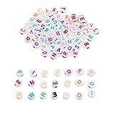 Mikolot 300 Perlen zum Selbermachen gemischt runde Acryl-Buchstaben Alphabets Spacer Perlen