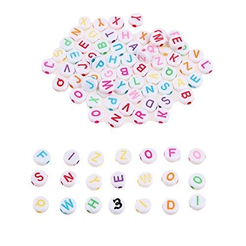 Mikolot 300pcs Charm DIY Perles mixtes rond Acrylique lettres Alphabets Spacer Perles