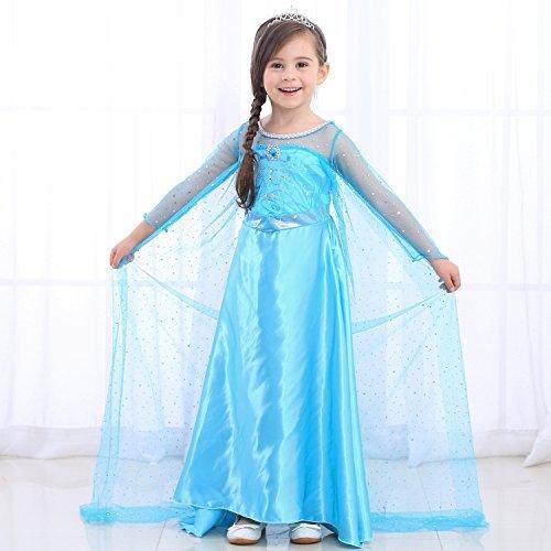 URAQT Eiskönigin Prinzessin Kostüm Kinder Glanz Kleid Mädchen Weihnachten Verkleidung Karneval Party Halloween Fest (Kinder Kostüm Elsa Halloween)