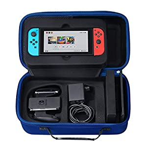 Nintendo Switch Carrying Case, SHareconn Odourless Deluxe Travel Portable Storage Box Hard Shell Holder with 18 Game Cartridge for Nintendo Switch 2017 Console, Gamepad, Charger & Cable (Black)