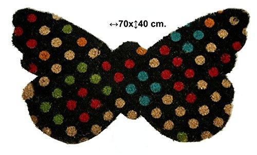 Felpudos Frikis de fibra de coco con forma de mariposa decorada con lunares de diferentes colores