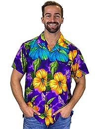 Original King Kameha | Funky Hawaiian Shirt | Men | XS-12XL | Short-Sleeve | Front-Pocket | Hawaiian-Print | Big Flower Summer | Multiple Colours