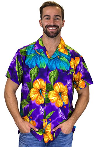 Funky Hawaiihemd, Kurzarm, Große Blume, violett, 3XL (Hawaii-shirt Große)