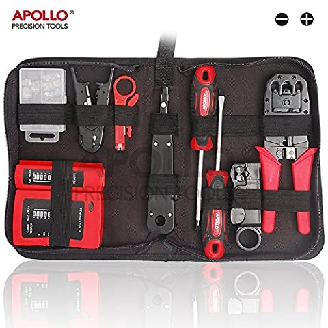Apollo Kit d'outils professionnel 19pièces pour technicien réseau Kit d'outils de réparation et d'entretien informatique avec fermeture éclair Étui de rangement Idéal pour tester des câbles réseau et Dépannage des installations