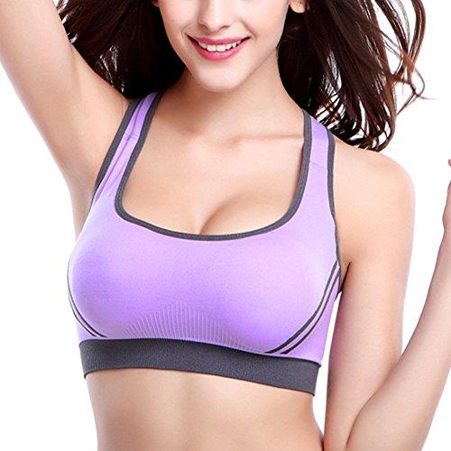 iBaste Femme Soutien Gorge de Sport Armatures Dos Nageur Emboîtant Bretelles Croisées Violet