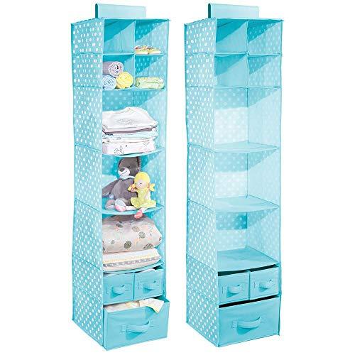 Mdesign set da 2 organizer armadio con 7 scomparti e 3 cassetti - portatutto pensile in stoffa - organizzatore armadio da appendere - turchese con pois bianchi