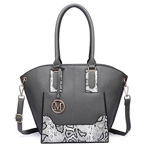 PU Tote Winged LT6615 Schultertasche Grau Shopper Bag Elegant LT6615 Weiß LuLu Leder Damentasche Miss Henkeltasche Handtasche f70vvgq