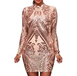AllForYou Damen Kleider Elegant Pailletten Langarm Etuikleid Kurz festlich Abendkleid Cocktailkleid Minikleid Partykleid (S, Beige)