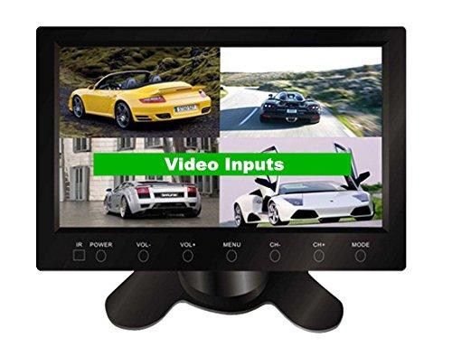 Gowe écran 17,8 cm avec répartiteurs 4 voies entrées vidéo pour quatre Caméras Boutons tactiles de voiture Système de sécurité Stand Alone moniteur de voiture moniteur