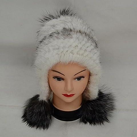 ZHANGYONG*D586 Invierno Frau Neu Echt Hut cálida Kappe /Verdadero sombrero de piel tejida de