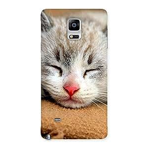 Premium Premium Cute Sleepings Cat Multicolor Back Case Cover for Galaxy Note 4