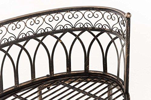 CLP Metall-Gartenbank AMANTI mit Armlehne, Landhaus-Stil, Eisen lackiert, Design antik nostalgisch, Form oval ca. 110 x 55 cm Bronze - 6