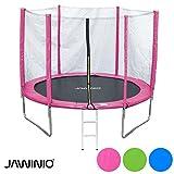 Jawinio Trampolin 244 cm (8F) Gartentrampolin Jumper Komplett-Set inkl. Leiter, Sicherheitsnetz und Sprungmatte Blau, Grün Oder Pink (Grün)