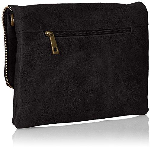 CTM Frau Kupplung, kleine Handtasche in italienischem Leder in Italien mit Schultergurt gemacht 26x19x4 Cm Schwarz (Nero)