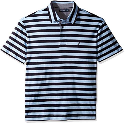 Nautica Men's Big and Tall Short Sleeve Stripe Premium Cotton Polo Shirt -