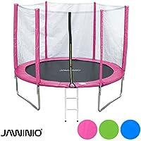 Preisvergleich für Jawinio Trampolin 244 cm (8F) Gartentrampolin Jumper Komplett-Set inkl. Leiter, Sicherheitsnetz und Sprungmatte Blau, Grün Oder Pink