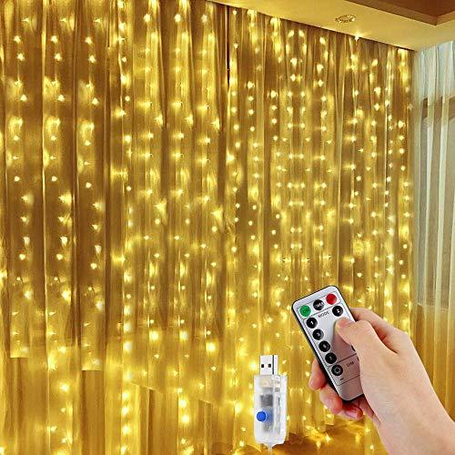 LED Lichtervorhang, Vegena 300 LEDs Lichterwand 3m x 3m Lichterkettenvorhang 8 Modi Wasserfest Lichterkette Warmweiß mit Fernbedienung für Außen Innen Deko Weihnachtsbeleuchtung Hochzeit Garten - Innen-weihnachtsbeleuchtung