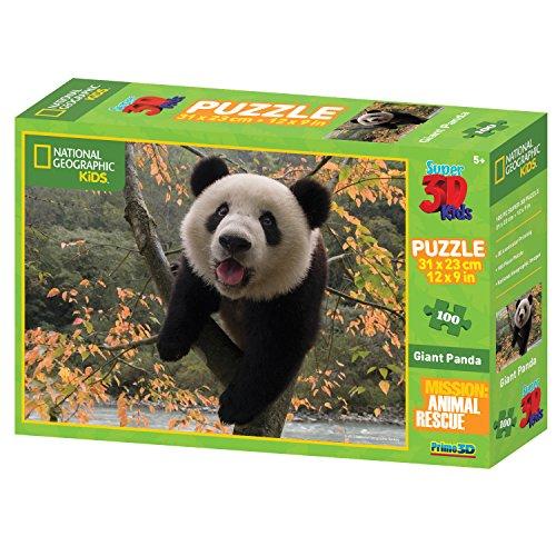 National Geographic Animal Rescue Panda Géant Super Puzzle 3D (100, Multicolore)