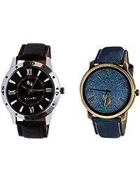 Kajaru KJR-10,11 Round Black And Blue Dial Analog Watch Combo For Men (Pack Of 2)