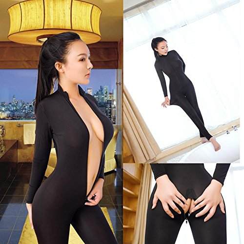 Mirlun-Schwarz-Sexy-Damen-Transparent-Catsuit-Reiverschluss-Offener-Schritt