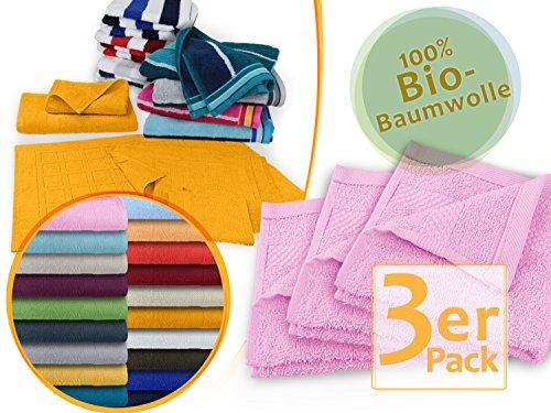 hochwertige Bio-Handtuchserie - erhältlich in 19 trendigen Unifarben oder 7 Streifen - in 7 verschiedenen Größen, 3er-Pack Seiftücher 30 x 30 cm, rosa