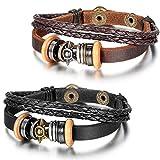 JewelryWe Schmuck 2pcs Herren Damen Armband, Leder Legierung, Vintage Tribal Sonne Ringe Kreise Geflochten Armreif, Schwarz Braun Silber