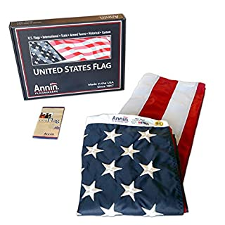 Annin Flagmakers American Flag 4x6 ft. Nylon SolarGuard Nyl-Glo, 100% Made in USA with Sewn Stripes, Embroidered Stars and Brass Grommets.  Model 2220
