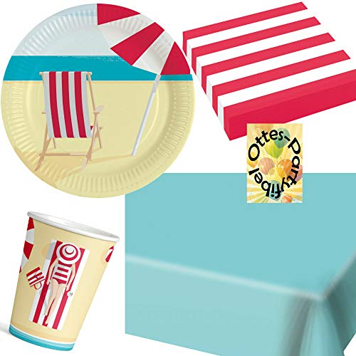 HHO Strand-Party-Set Summer Stories Sommer Partyset 37tlg. für 8 Gäste 20 Sevietten 8 Teller 8 Becher 1 Tischdecke