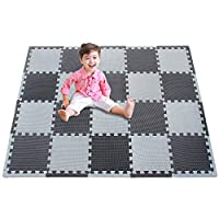 meiqicool Foam play mat,Interlocking Floor Mat,30x30 Large EVA Foam Protector Puzzle Tiles Treadmill Pilates/Yoga Mats for Home Gym Training Exercise Fitness Workout 10mm Thick 0412Z