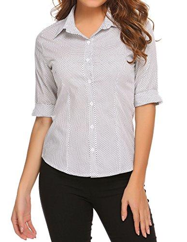 BeautyUU Damen Hemd Bluse Basic Hemd 3/4 Ärmel Hemdbluse Damenbluse Arbeitshemd Freizeithemd Business Hemd Weiß Tupfen L -