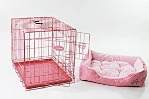 """Easipet 24"""" Pink Cage with Pink Fleece Dog Bed"""