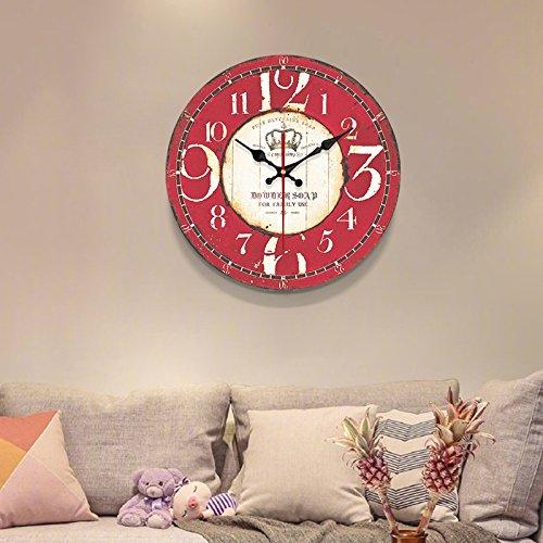 Komo silencioso Moderno Decoración Adorno para Hogar Gas invasiva Simple Tabla de Pared Retro Reloj de Cuarzo de Gran Reloj de Pared Reloj,12 Pulgadas,Rojo